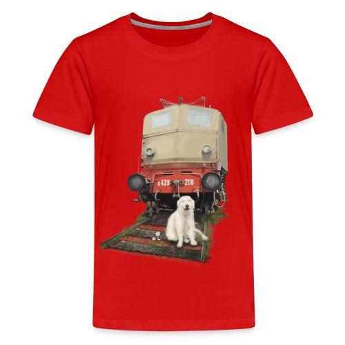 Golden Retriever with Train - Maglietta Premium per ragazzi