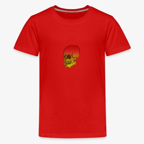 Red and yellow skull melting - Teenage Premium T-Shirt