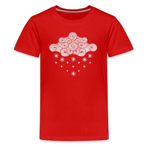 nuage blanc et flocons vacances d'hiver - T-shirt Premium Ado