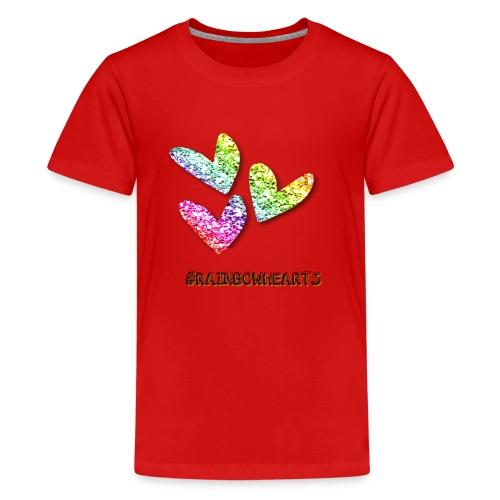 #RAINBOWHEARTS - Teenage Premium T-Shirt