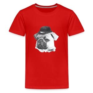 pug with bowler - Teenager premium T-shirt