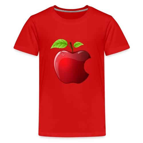Symbol roter Apfel mit 2 Blätter glänzend - Teenager Premium T-Shirt