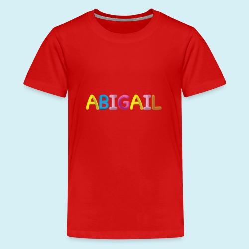 Fluffy Abigail Letter Name - Teenage Premium T-Shirt