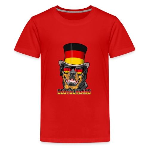 Cooler Deutschland Rottweiler mit Hut und Brille - Teenager Premium T-Shirt