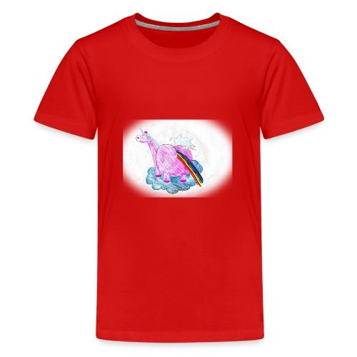 Regenbogen pupsendes Einhorn - Teenager Premium T-Shirt