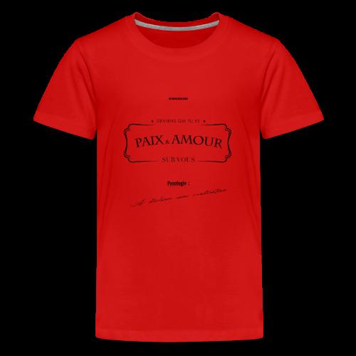 Aller Plus H4ut - Paix & Amour - Noir - T-shirt Premium Ado