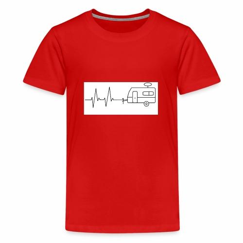 EKG ,Wohnwagen, Herzschlag, Camping, Rhythmus - Teenager Premium T-Shirt
