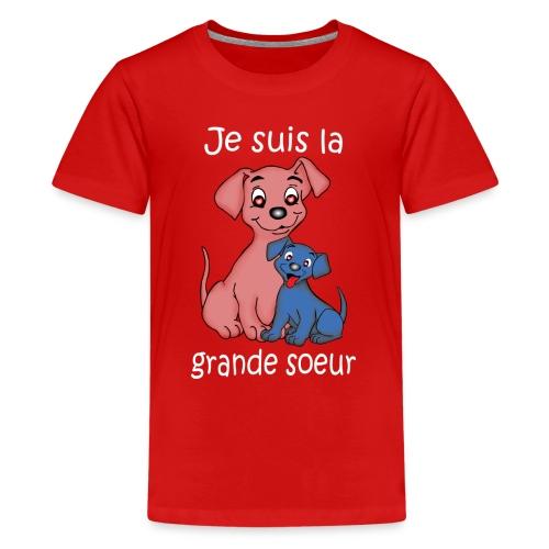 Je suis la grande soeur chiot - T-shirt Premium Ado