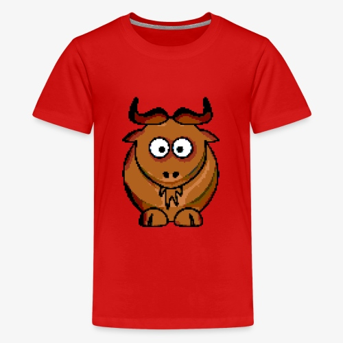 Ochse Retro Pixel Grafik Geschenk Bauernhof Kuh - Teenager Premium T-Shirt