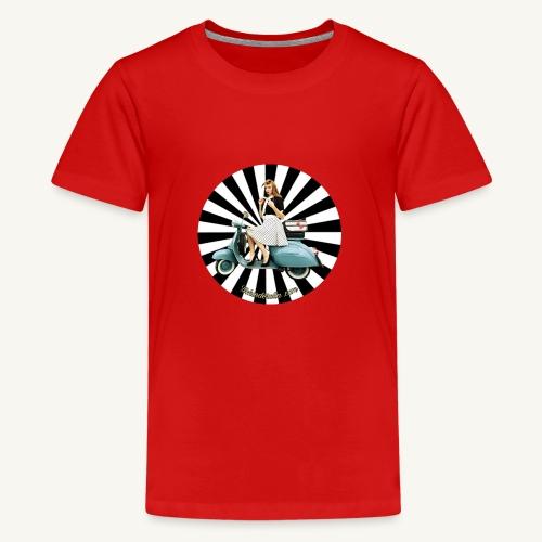 Pin Up auf Vespa Stripes - Teenager Premium T-Shirt