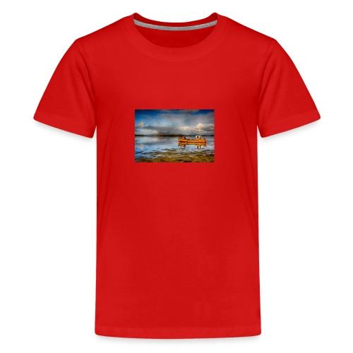 yellow boat on the sea over blue sky - Teenage Premium T-Shirt