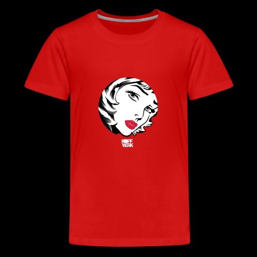 Kopf mit Schrift (weiss) - Teenager Premium T-Shirt