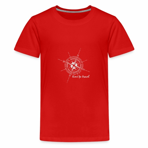 Kompass time to travel weiß - Teenager Premium T-Shirt