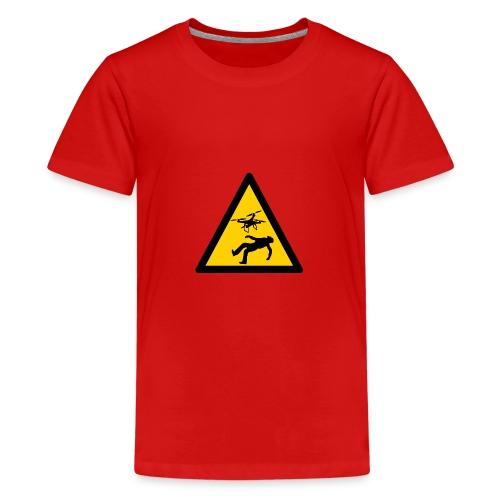 Señal advertencia peligro warning drones - Camiseta premium adolescente