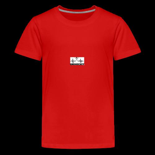 heartbeat pulse line two crossed floorball sticks - Teenager Premium T-Shirt