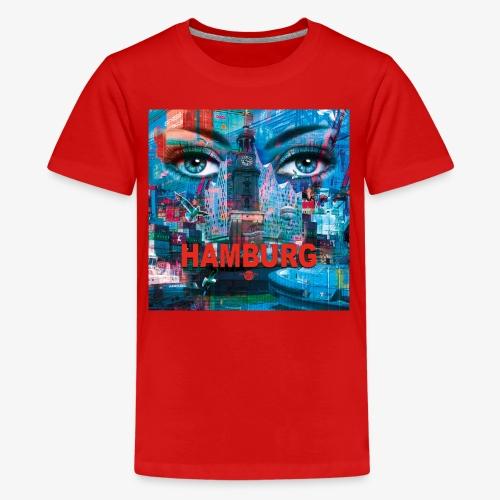 01 Faszination Hamburg Blaue Augen Elphi Michel - Teenager Premium T-Shirt