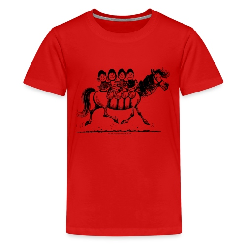 Thelwell Cartoon Viererbande - Teenager Premium T-Shirt