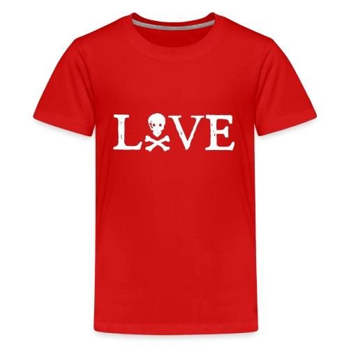 Love Skull (white print) - Premium T-skjorte for tenåringer