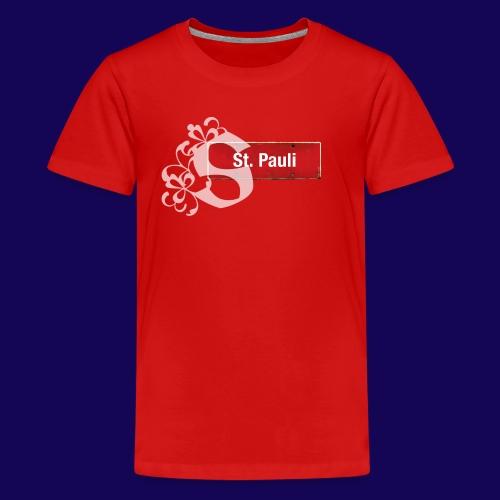 Hamburg -St.Pauli-Schild mit Schmuck-Initial - Teenager Premium T-Shirt