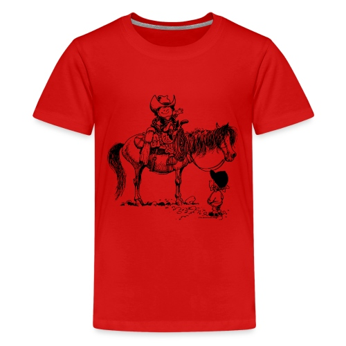 Thelwell Cartoon Cowboy mit seinem Pony - Teenager Premium T-Shirt