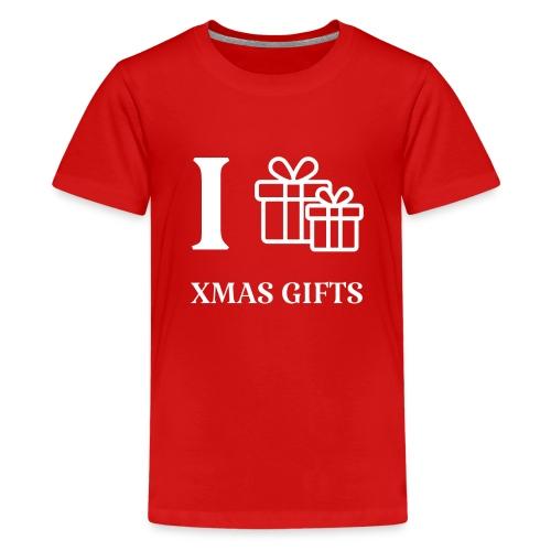 I love xmas gifts - Premium T-skjorte for tenåringer