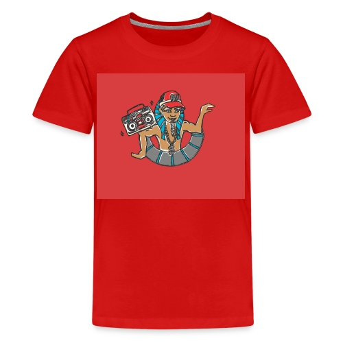 Hip Hop Dancing Pharaoh red background - Teenage Premium T-Shirt