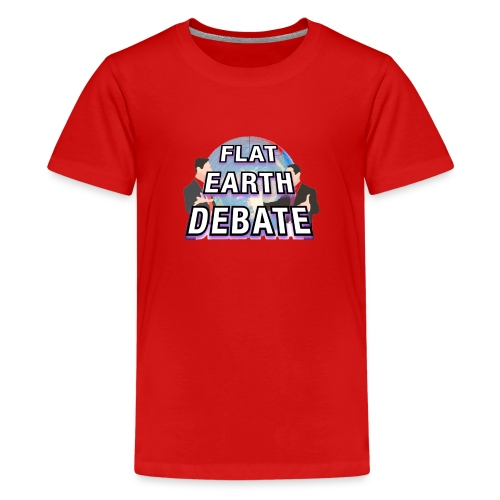 Flat Earth Debate Solid - Teenage Premium T-Shirt