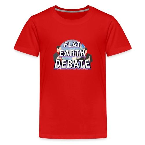 Flat Earth Debate Solid - Teenage Premium T-Shirt