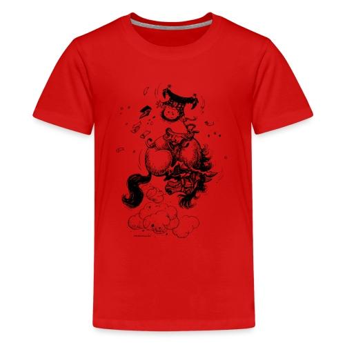 Thelwell Cartoon Rodeo - Teenager Premium T-Shirt