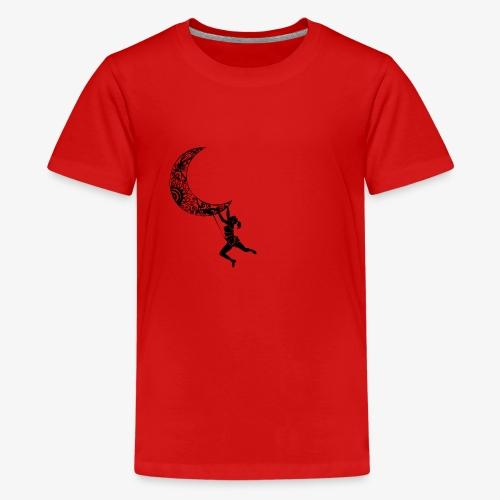 Climbing Woman Girl moon - Climber on the moon - Teenage Premium T-Shirt