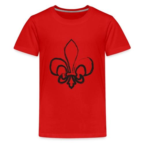 Pinselzeichnung Lilie – Schwarz - Teenager Premium T-Shirt