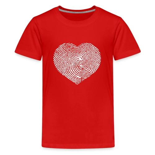 Finger Heart White - Teenager Premium T-shirt
