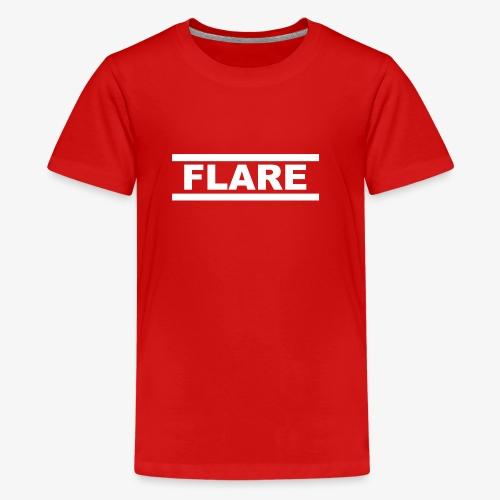 Black Hoodie - White logo - FLARE - Teenager Premium T-shirt