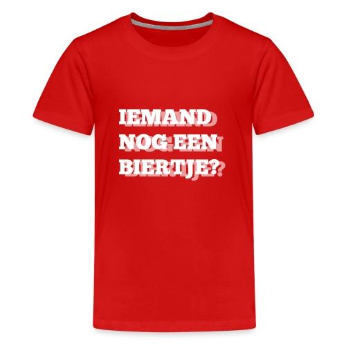 Iemand nog een biertje?? Dubbel kijken print - Teenager Premium T-shirt
