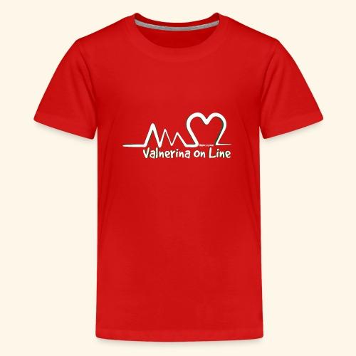 Valnerina On line APS logo bianco con ombra - Maglietta Premium per ragazzi