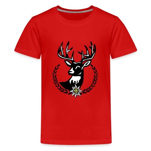 Hirsch Lorbeerkranz Wiesn Edelweiss - Teenager Premium T-Shirt