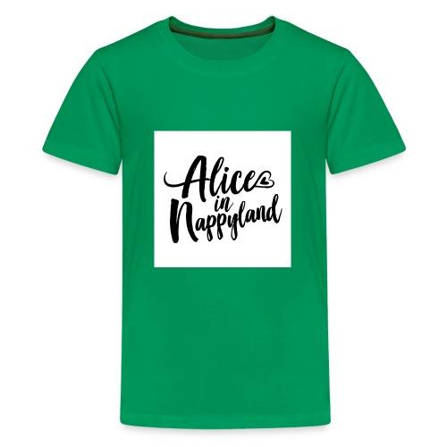 Alice in Nappyland Typography Black 1080 1 - Teenage Premium T-Shirt