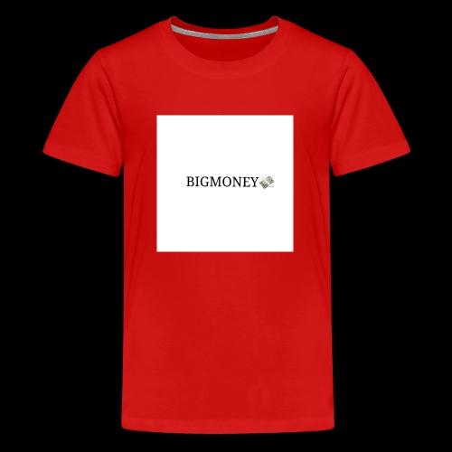 BigMoney hvit stor logo - Premium T-skjorte for tenåringer