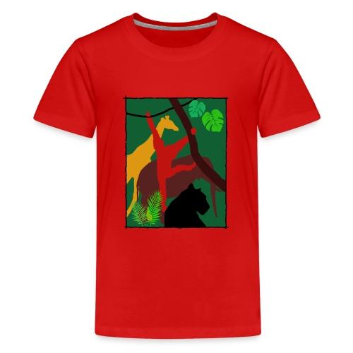 Dschungel - Panther-Affe-Elefant-Giraffe - Teenager Premium T-Shirt