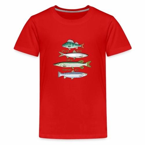10-34B FOUR FISH - Tekstiili- ja lahjatuotteet. - Teinien premium t-paita