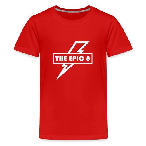 The Epic 8 - Valkoinen logo, iso - Teinien premium t-paita