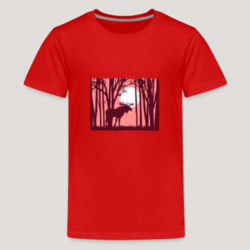Sonnenuntergang, Elch im Wald, Moose in the woods - Teenager Premium T-Shirt