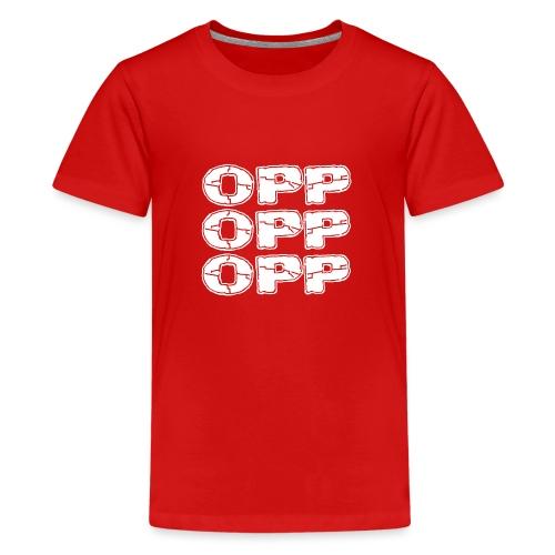 OPP Logo White - Teinien premium t-paita
