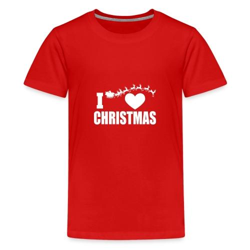 I Love Christmas Heart Natale - Maglietta Premium per ragazzi