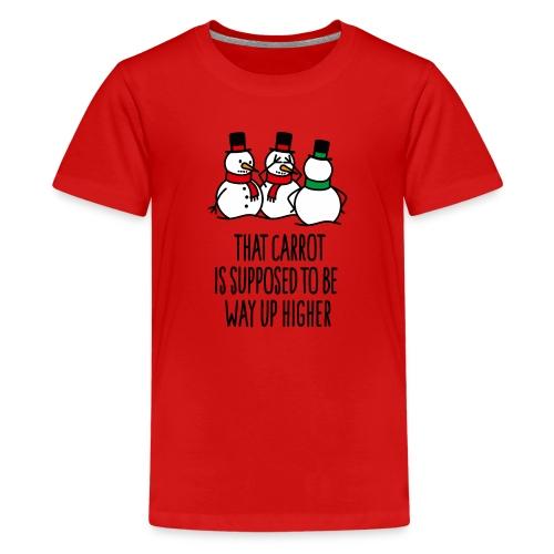 Lustige Weihnachten Geschenk Schneemann Karotte - Teenager Premium T-Shirt