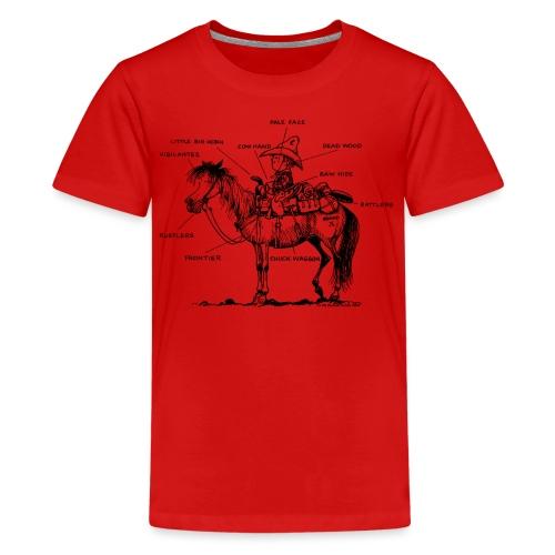 Thelwell Cartoon Bescheribung Westernpferd - Teenager Premium T-Shirt