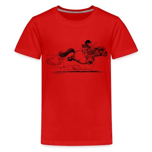 Thelwell Cartoon Pony Sprint - Teenager Premium T-Shirt