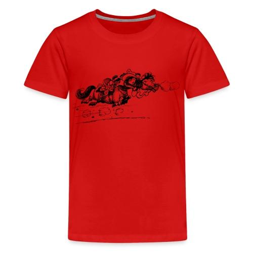 Thelwell Cartoon Westernpony rennt weg - Teenager Premium T-Shirt