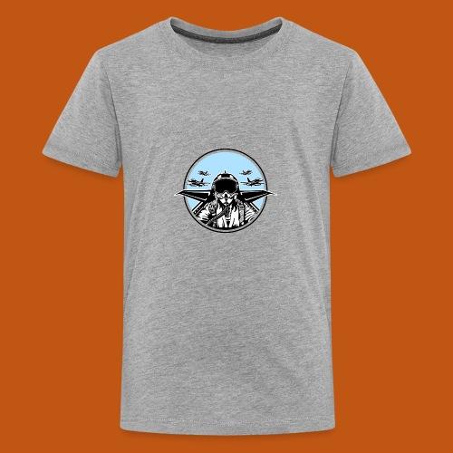 Jet Pilot / Kampfpilot 01_weiß Schwarz - Teenager Premium T-Shirt