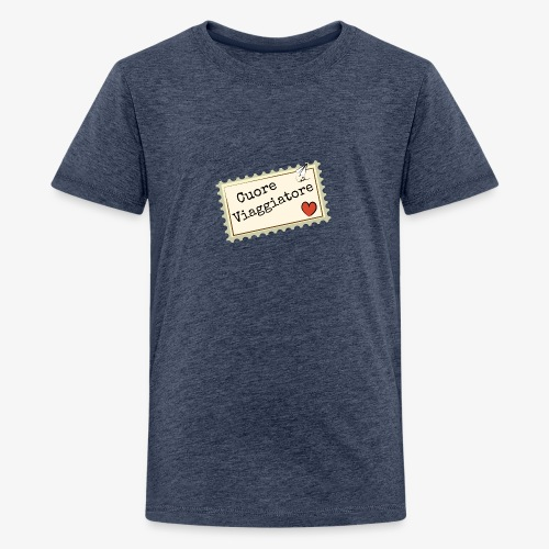 CUORE VIAGGIATORE Scritta con aeroplanino e cuore - Maglietta Premium per ragazzi